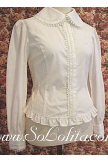 Lolita Pure White Simple Cotton Long Sleeves Blouse