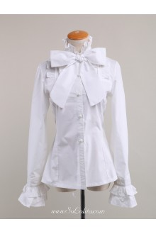 Lolita Kawaii Pure White Bowtie Corset Lady Blouse