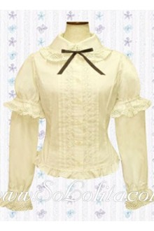 Lolita Two Layers Puff Sleeves White Cotton Blouse