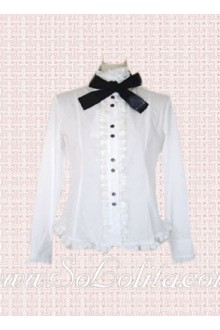 Lolita Black Bowtie WhtleLong Sleeves Cotton Blouse