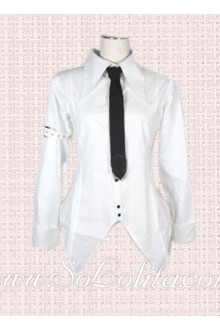 Lolita Black Tie White Special Design Cotton Blouse