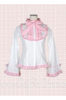 Lolita Kawaii Pink Trim Trumpet Sleeves White Blouse