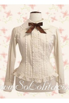 Lolita Brown Bowtie Hotsale Pleated Cotton Blouse