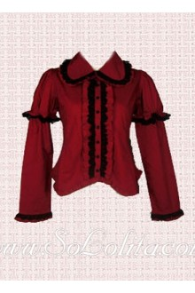Lolita Alluring Red Black Border Hotsale Blouse