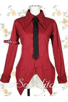 Lolita Black Tie Red Special Design Cotton Blouse