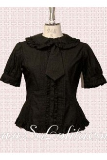 Lolita Lovely Black Tie Pleated Border Blouse