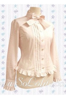 Lolita Sweet Pink Bowtie Long Sleeves Cotton Blouse
