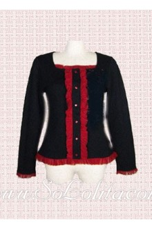 Lolita Square Red Lace Decoration Black Cotton Blouse