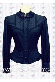 Lolita Luxury Blue Long Sleeve Fashion Cotton Blouse