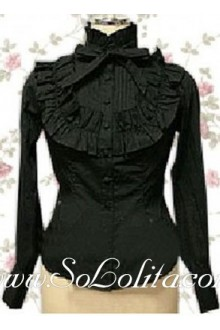 Lolita Black Bowtie Ruffle Decoration Cotton Blouse