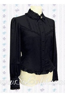Lolita Black Lace Trim Collar Long Sleeves Blouse