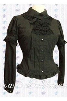 Lolita Black Bowtie Lace Collar Long Sleeves Blouse