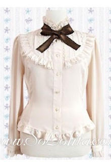 Lolita Brown Tie Beige Long Sleeves Blouse