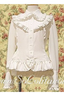 Lolita Lovely White Ruffle Border Long Sleeves Blouse