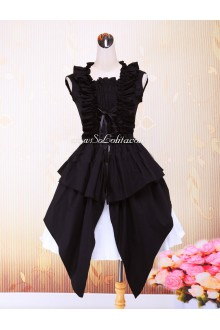 Lolita Gothic Elegant Black and White Splicing Sleeveless Round Neck Dress