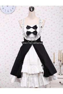 Lolita Gothic Small Fresh Black and White Flouncing with Bow Sleeveless Straps Dress