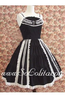 Lolita Dress Sweet Charming Black Cotton Straps Sleeveless Lace Trim