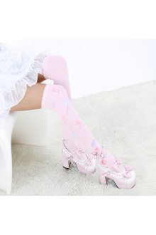 Cute  Fashion Pop Bear Pattern Pink Knee Stockings