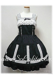 Lolita Small Fresh Black Cotton Sleeveless Straps Lace Trim Sweet Dress