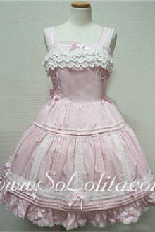 Lolita Dreamful Pink Cotton Sleeveless Straps Lace Trim Dress