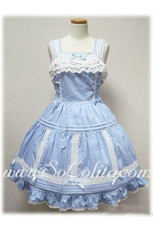 Lolita Small Fresh Light Blue Cotton Sleeveless Straps Lace Trim Dress