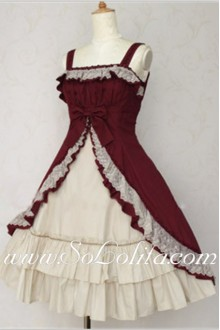 Lolita Noble Dark Red and Light Gray Flouncing Hem Cotton Sleeveless Straps Dress