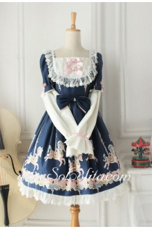 Lolita Dreamful Blue Square Neck Cotton Long Sleeves White Lace HemSweet Dress