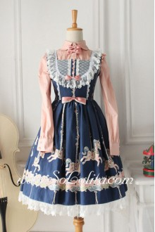 Lolita Elegant Pink Long Sleeves Blue Cotton Stand Collar Lace Hem Sweet Dress
