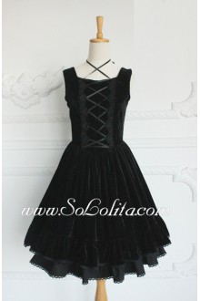 Lolita Gothic Noble Party Plain Black Cotton Sleeveless Square NeckDress