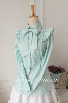 Lolita Idyllic Green Long Sleeve Lapel Bowknot Blouse