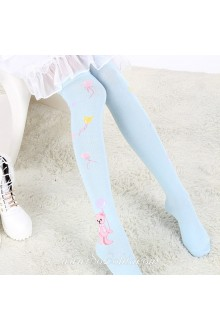 Cute Fashion Pop Bear Pattern Sky Blue Knee Stockings