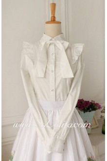 Lolita Casual White Long Sleeve Lapel Bowknot Blouse