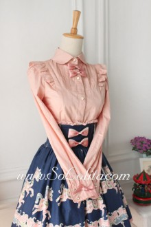 Lolita Casual Pink Long Sleeve Lapel Bowknot Blouse