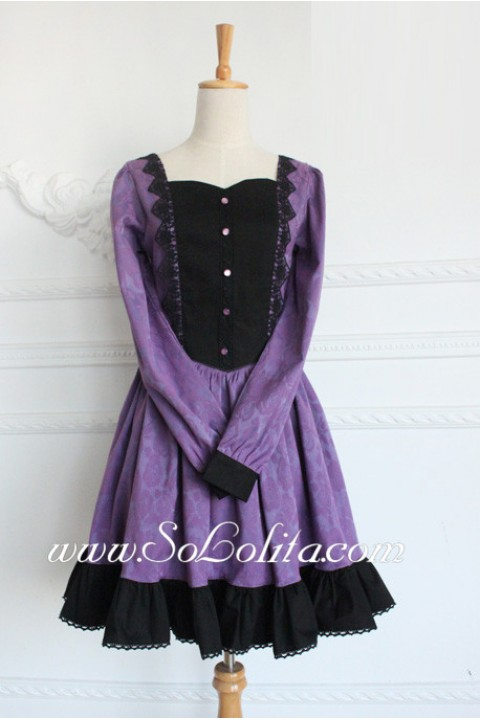 Black And Purple Cotton Square Neck Long Sleeves Flouncing