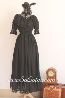 Noble Black Lace Stand Collar Short Sleeves Gothic Lolita Dress