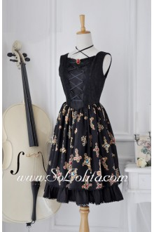 Black Square Neck Sleeveless Flouncing Gothic Lolita Dress