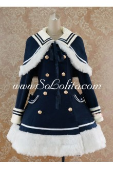 Dark Blue Casual Slim Double-Breasted Navy Lolita Coat