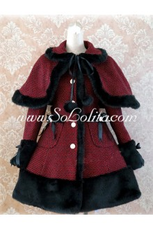 Dark Red Single-Breasted Grid Slim Flouncing Lolita Coat