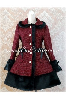 Dark Red Lapel Single-Breasted Grid Slim Flouncing Lolita Coat