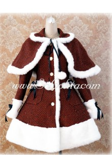 Orange Single-Breasted Grid Slim Flouncing Lolita Coat