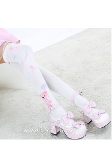 Cute Fashion Pop Bear Pattern White Knee Stockings