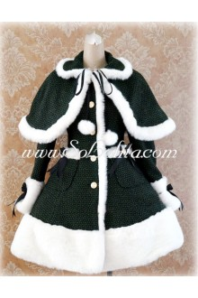 Green Single-Breasted Grid Slim Flouncing Lolita Coat