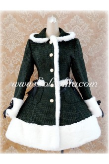 Green Lapel Single-Breasted Grid Slim Flouncing Lolita Coat