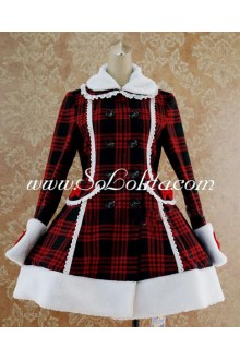 Red and Black Wool Blended Lapel White Wool Trim Lolita Coat