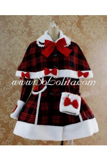 Red and Black Wool Blended Cap Shoulder White Wool Trim Lolita Coat