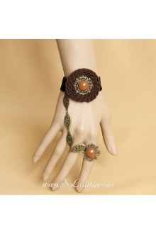Fashion Black and Brown Velvet Resin Diamond Lolita Bracelet