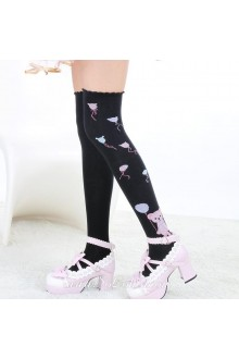 Cute Fashion Pop Bear Pattern Black Knee Stockings