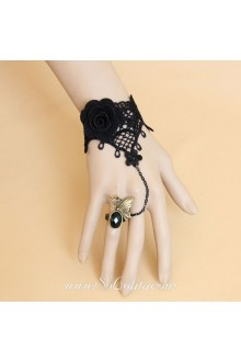 Gothic Black Lace and Flower with Metal Butterfly Lolita Bracelet