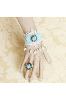 Small Fresh White Lace with Chain Green Rose Pearls Lolita Bracelet