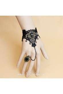 Noble Black Lace with little Flower Lolita Bracelet